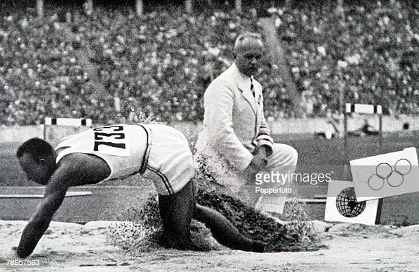 Olympic Games Berlin Germany Men's Long JumpUSA's legendary Jesse Owens jumps 806 metres to win one of his four gold medals