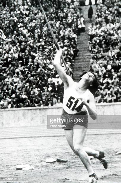 Olympic Games Berlin Germany Women's Javelin Austria's Hermine Baume world record holder placed fourth in the event
