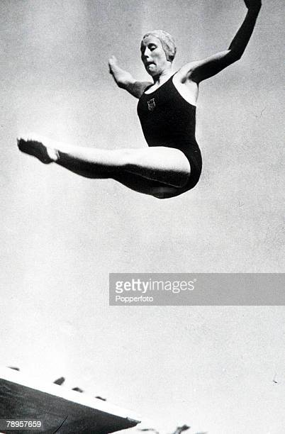 Olympic Games Berlin Women's Springboard Diving USA's Marjorie Gestring in action to win the gold medal