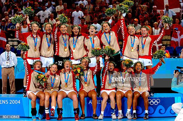 Olympic Games final DenmarkKorea GOLD MEDALIST DeNMARK OLYMPIC CHAMPIONS <BR>Back row fr L Rikke Skov Camilla Thomsen Karin Mortensen Lotte Kiaerskou...
