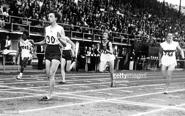 Olympic Games Helsinki Finland Women's 100 Metres Final Australia's Marjorie Jackson crosses the line to win the gold medal