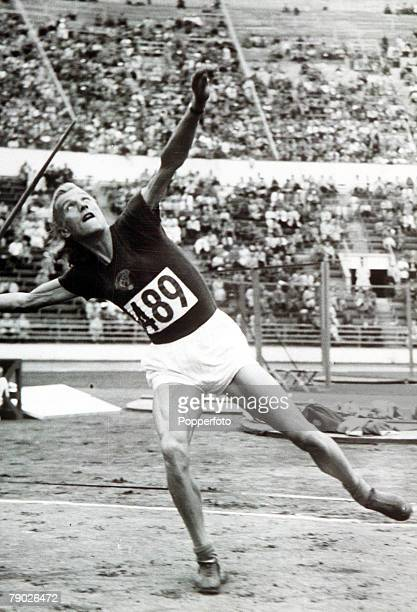 Olympic Games Helsinki Finland Women's Javelin USSR's Alexsandra Chudina in action to win the silver medal