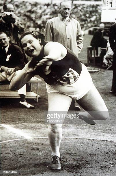 Olympic Games Helsinki Finland Women's Shot Put USSR's Tamara Tyschevich who finished fourth