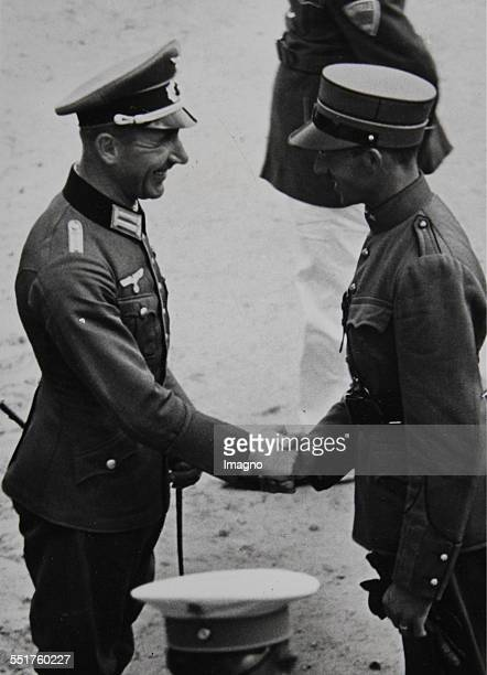 Olympic Games in Berlin Congratulations of a foreign officer to the Olympic champion in the Military Riding Captain Ludwig Stubbendorff 1936...