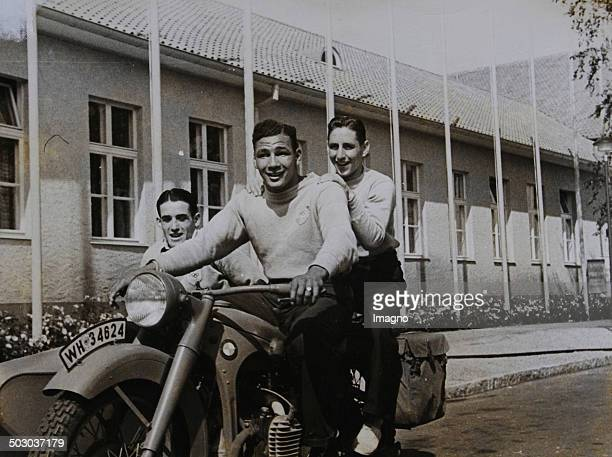 Olympic Games in Berlin Three Argentine boxer driving through the Olympic Village 10th July of 1936 Photograph