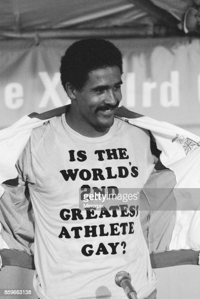 Olympic Games in Los Angeles USA Great Britain's Daley Thompson celebrates after his gold medal success in the Decathlon event with a humorous...
