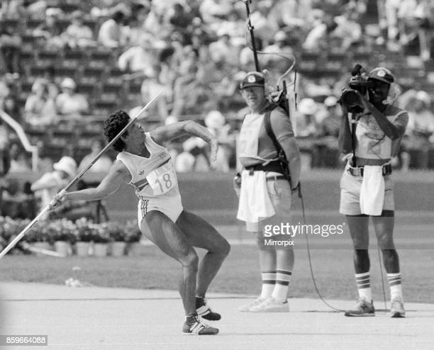 Olympic Games in Los Angeles USA Great Britain's Fatima Whitebread in the Women's Javelin event 8th August 1984