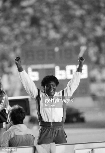 Olympic Games in Los Angeles, USA, Great Britain's Tessa Sanderson celebrates after winning the gold medal in the Women's Javelin event, 6th August...