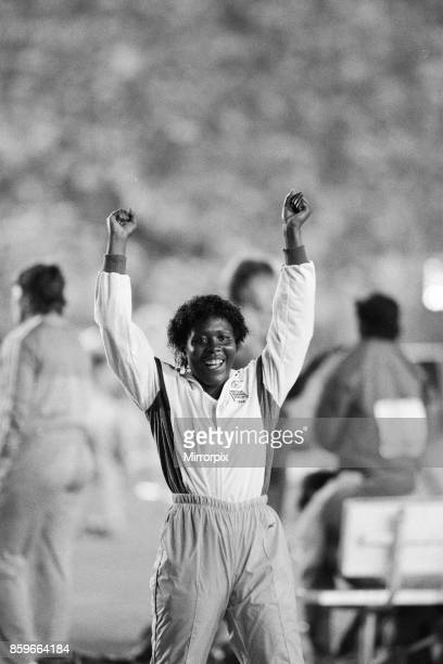 Olympic Games in Los Angeles USA Great Britain's Tessa Sanderson celebrates after winning the gold medal in the Women's Javelin event 6th August 1984