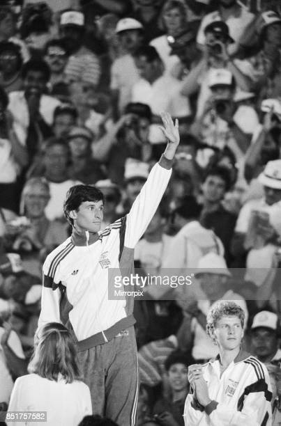 Olympic Games in Los Angeles, USA, Mens Athletics, Great Britain's Sebastian Coe celebrates on the podium after winning the gold medal in the Men's...