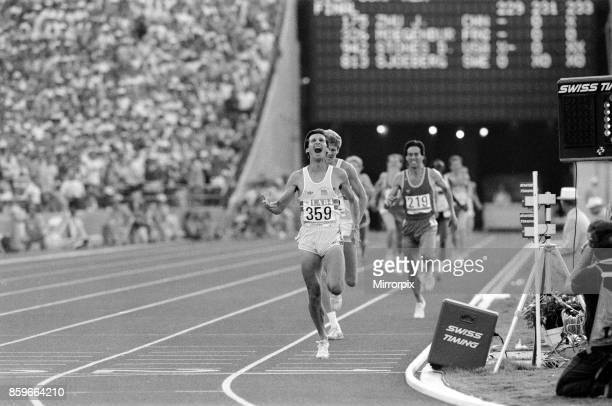 Olympic Games in Los Angeles, USA, Mens Athletics, Great Britain's Sebastain Coe wins the 1500 metres gold medal ahead of his fellow countryman Steve...