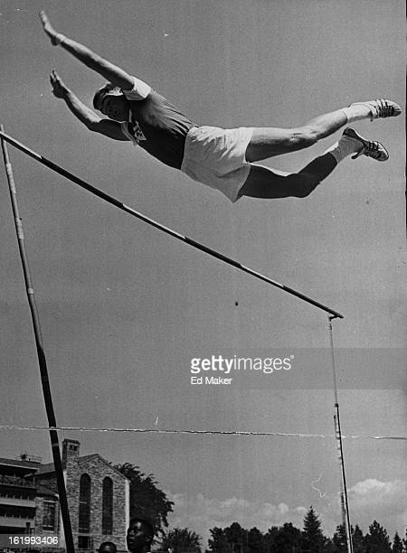 JUL 12 1964 Olympic Games Junior Making It Look Easy Murray Kula of the Weld County YMCA doesn't have too much trouble when the bar in the pole vault...