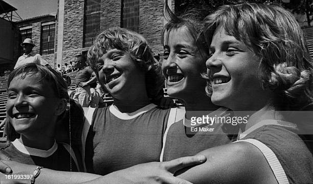 JUL 12 1964 Olympic Games Junior They must have rehearsed those victory smiles Too Girlish glee is quite evident as winners of 200yard shuttle relay...