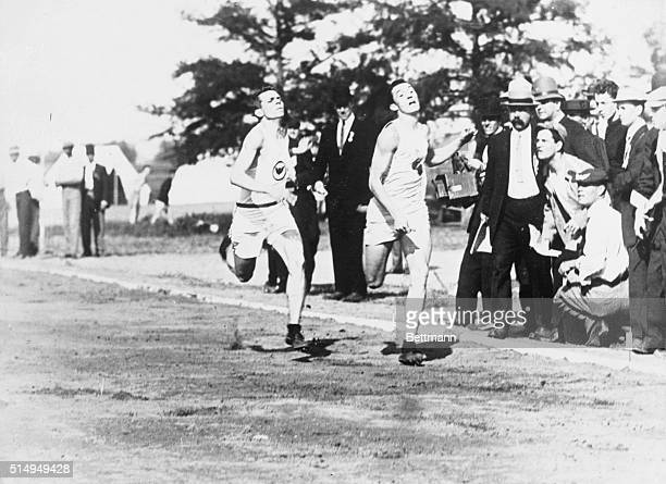 Olympic Games London England 1908 Finish of the 200 meter race Left to right Robert Cloughen USA Robert Kerr Canada and Nathaniel Cartmel U