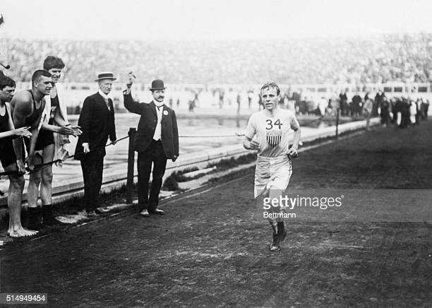 Olympic Games London England 1908 The queen presents Johnny Hayes winner of the marathon race with medal