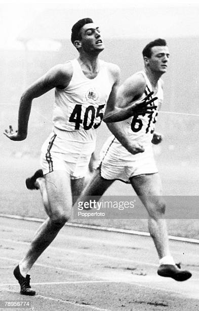 Olympic Games London England Decathlon Peter Mullins of Australia wins a heat of the 100 metres ahead of Robert Mathias of the USA Mathias went on to...