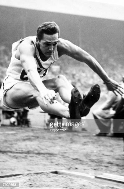 Olympic Games London England Decathlon USA's bronze medal winner Floyd Simmons in action during the long jump event