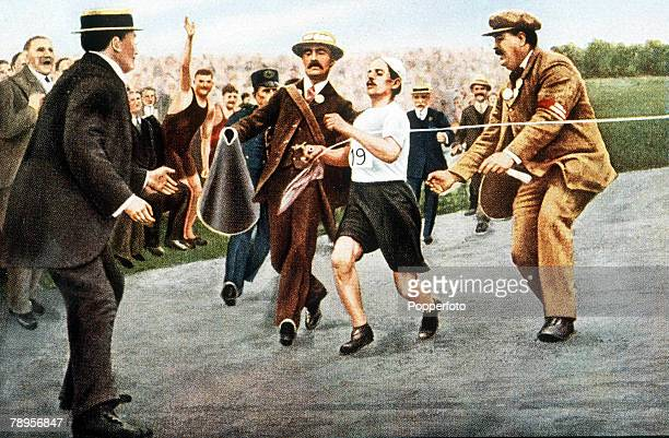 Olympic Games, London, England, Marathon, Italy's Dorando Pietri, first home at the tape but was disqualified because he was assisted over the line...