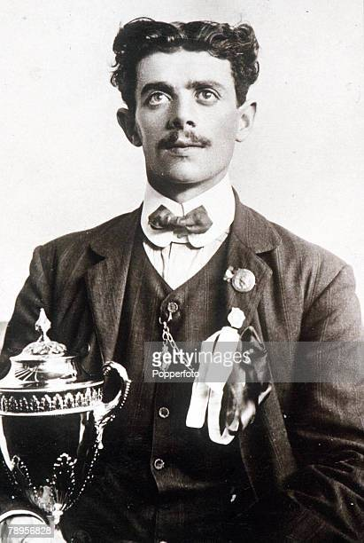 Olympic Games, London, England, Marathon, Italy's Dorando Pietri, first home in the race but was disqualified because he was assisted over the line...