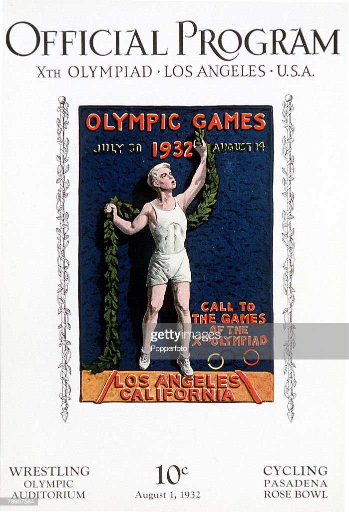 1932 Olympic Games. Los Angeles, USA. The official programme for the cycling and wrestling events at a cost of 10 cents. : News Photo