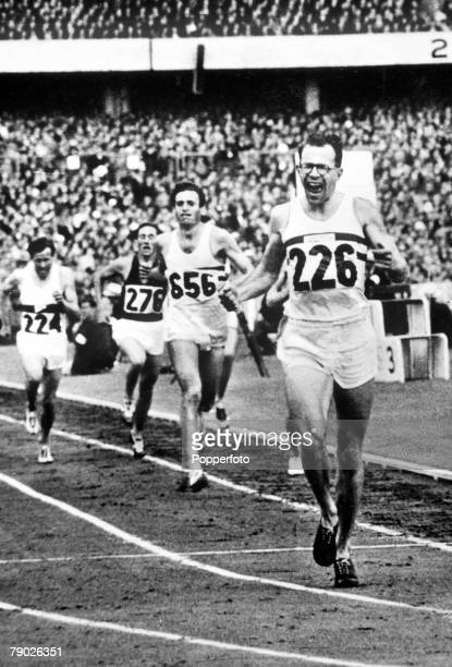 Olympic Games Melbourne Australia 3000 Metres Steeplechase Great Britain's Chris Brasher wins the gold medal