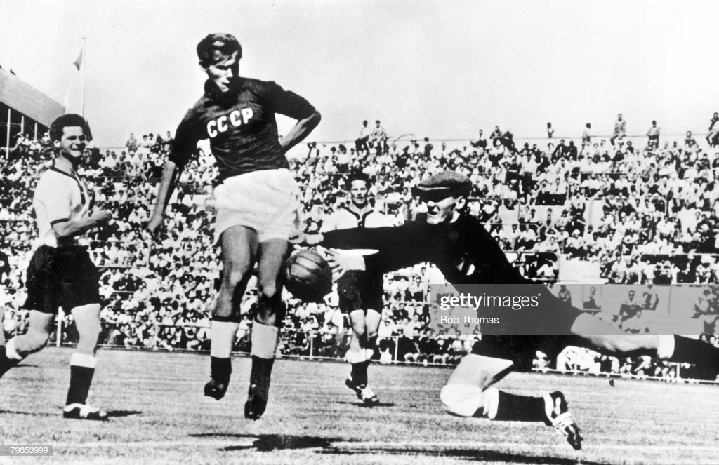 1956 Olympic Games, Melbourne, Australia, Football, USSR, 2 v Germany 1, USSR went on to win the Gold Medal : News Photo