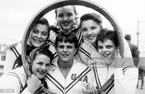 Olympic Games, Melbourne, Australia, Gymnastics, American gymnasts pose through a training hoop
