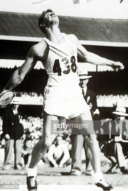 Olympic Games, Melbourne, Australia, Men's Discus, USA's Al Oerter who won the gold medal with an Olympic record