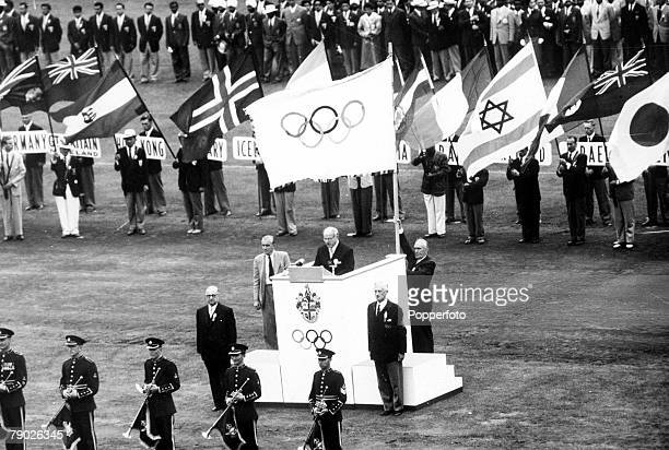 Olympic Games, Melbourne, Australia, President of the International Olympic Committee Avery Brundage speaks at the closing ceremony