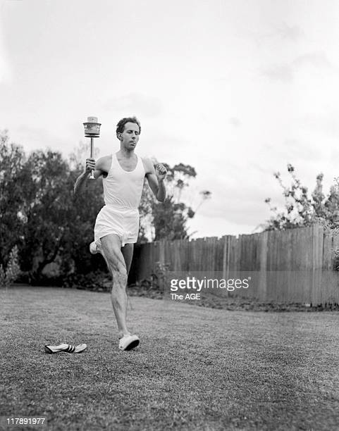 Olympic Games Melbourne John Landy carrying torch