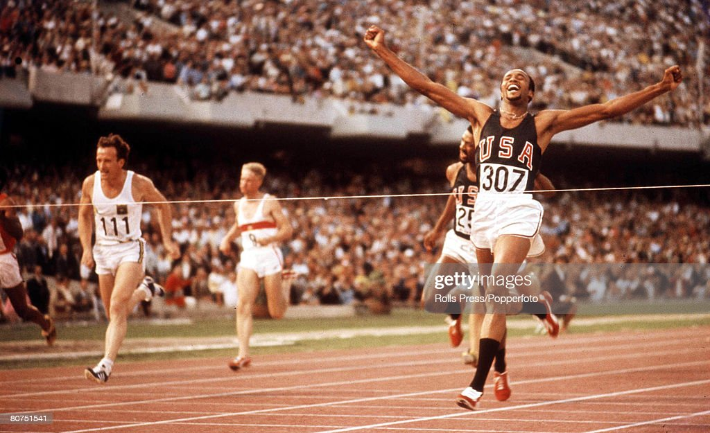 1968 Olympic Games Mexico City, Mexico Men's 200 metres Final. Tommie Smith of the USA wins Gold. : News Photo