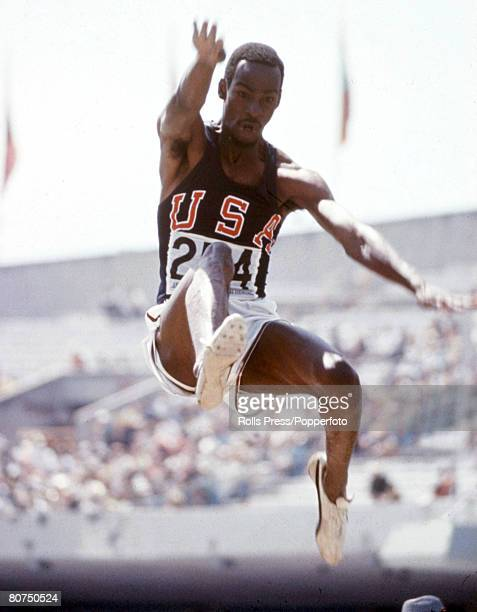 Olympic Games Mexico City Mexico Men's Long Jump USA's gold medal winner Bob Beamon in action He broke the World record for the long jump during the...