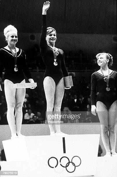 Olympic Games Mexico City Mexico Women's Gymanstics Floor Event Shared gold medal winners Vera Caslavska of Czechoslovakia and Larissa Petrik of the...