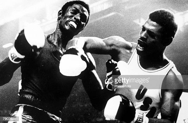 Olympic Games Montreal Canada Boxing 81Kg Leon Spinks USA Gold medal with Sixto Soria Cuba Silver medal