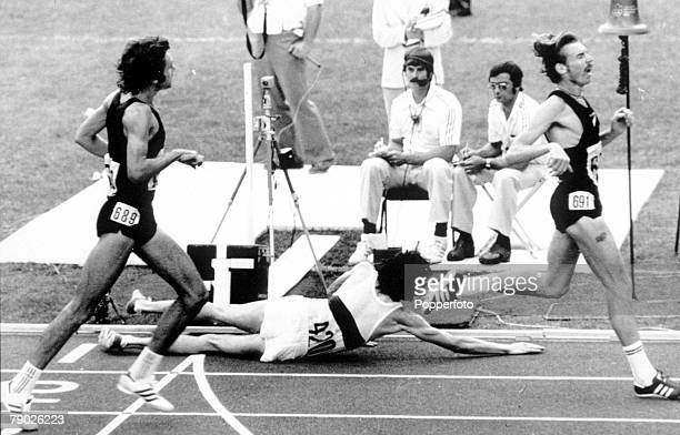Olympic Games Montreal Canada Mens 5000 Metres New Zealand's Dick Quax takes the silver medal as West German bronze medallist KlausPeter Hildenbrand...
