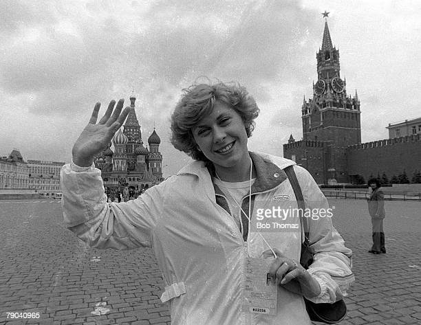 Olympic Games Moscow Russia 15th July 1980 British swimmer Sharron Davies waves while sightseeing in Moscow's Red Square