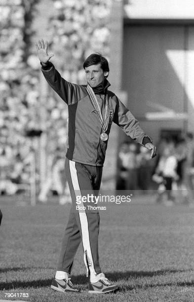 Olympic Games Moscow Russia 1st August 1980 Athletics Men's 1500 Metres Final Great Britain's gold medal winner Sebastian Coe waves to the crowd...