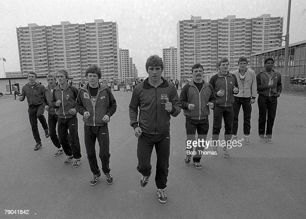 Olympic Games Moscow Russia 1st August 1980 Members of the British team training in Moscow