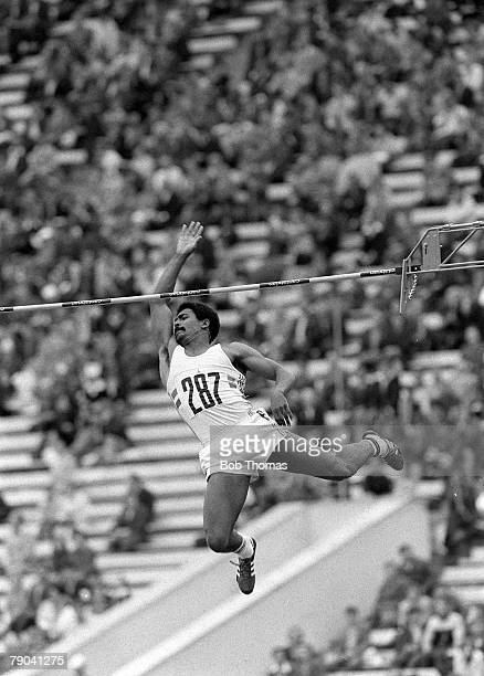 Olympic Games Moscow Russia 26th July 1980 Athletics Decathlon Great Britain's Daley Thompson clears the bar in the pole vault event on his way to...