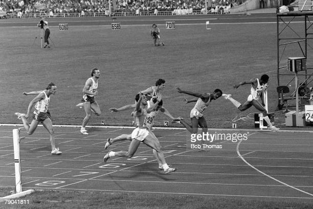 Olympic Games Moscow Russia 28th July 1980 Athletics Men's 200 Metres Final Pietro Mennea of Italy celebrates as he wins the gold medal as Alan Wells...