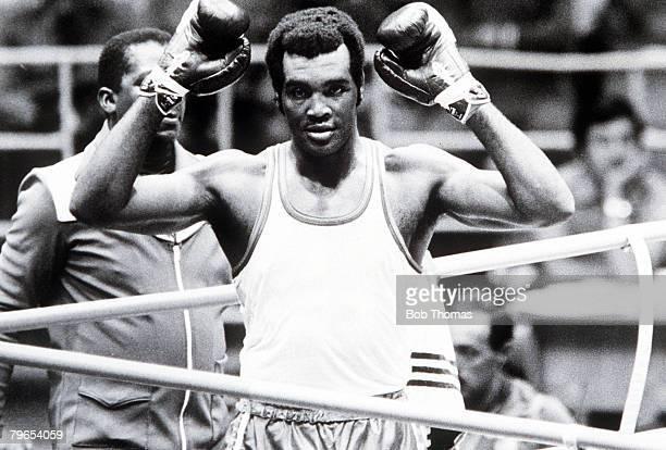 Olympic Games Moscow USSR Heavyweight Boxing Cuba's gold medallist Teofilo Stevenson celebrates
