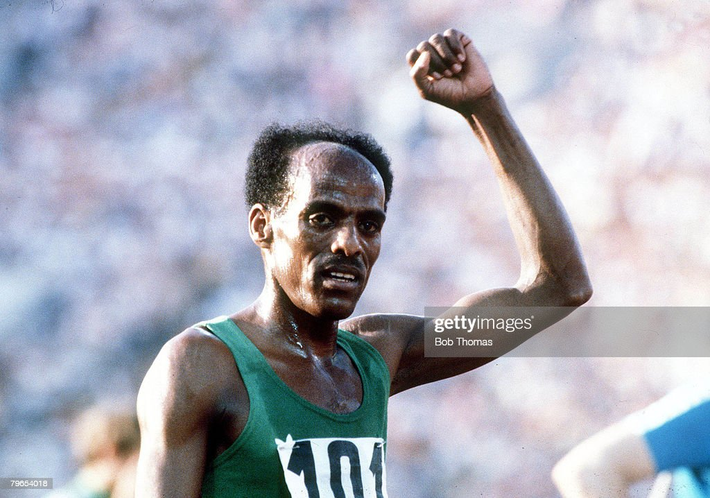 1980 Olympic Games, Moscow, USSR, Men's 5000 Metres Final, Ethiopia's Miruts Yifter celebrates after winning the gold medal : News Photo
