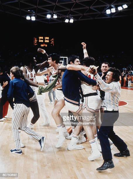 Olympic Games Munich West Germany Basketball Final USA v USSR The USA team mistakenly celebrate victory after a 5049 score However the officials...