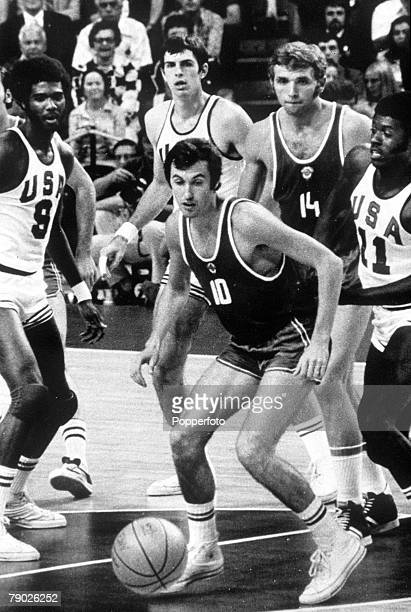 Olympic Games, Munich, West Germany, Basketball Final, USSR 51 v USA 50, Action during the highly controversial match in which USSR took the gold...