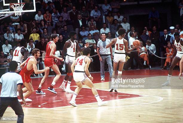 Olympic Games, Munich, West Germany, Basketball Final, USSR 51 v USA 50, Action during the match which was won by USSR for the gold medal, The USA...
