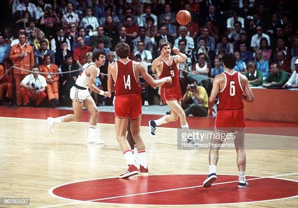 Olympic Games Munich West Germany Basketball Final USSR 51 v USA 50 Action during the match which was won by USSR for the gold medal The USA hotly...