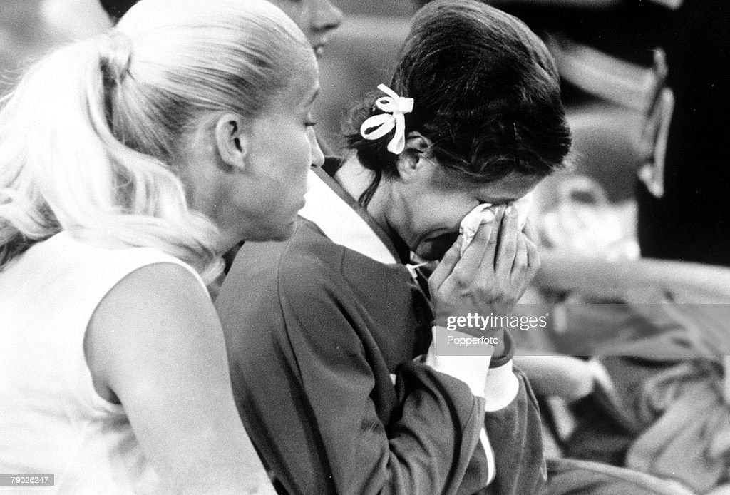 1972 Olympic Games. Munich, West Germany. Gymnastics. USSR's Olga Korbut weeps after falling from first to sixth place following a low mark on the bars event : News Photo