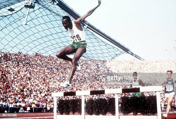 Olympic Games Munich West Germany Men's 3000 Metres Steeplechase Kenya's Kip Keino in action to win the gold medal