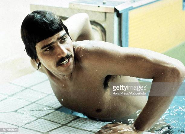 Olympic Games Munich West Germany Swimming USA's Mark Spitz climbs out of the pool