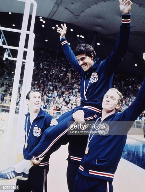 Olympic Games Munich West Germany Swimming USA's Mark Spitz is lifted up by his teammates after winning one of his seven Gold medals
